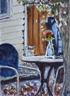 Cottage Patio ACEO Original collectible art card Watercolor Painting #Realism