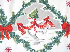 Vintage CHRISTMAS Tablecloth Snowman Santa Claus by NeatoKeen, $82.00