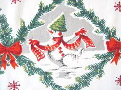 Vintage CHRISTMAS Tablecloth Snowman Santa Claus by NeatoKeen, $84.00