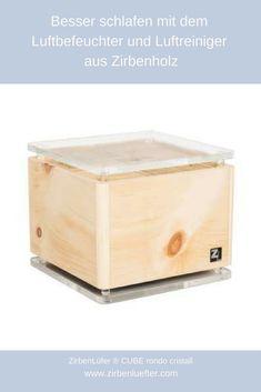 ZirbenLüfter ® CUBE Salzburg pure reduziert signifikant:  Luftschadstoffe wie Formaldehyd* Feinstaub Bakterien und Pilzsporen* -fungotoxische und biozide Eigenschaften unangenehme Gerüche (Schimmel, Schweiß usw.)* *Aussagen und Wirksamkeit belegt durch FFG Studie 11/2014 – TU Wien Prüfnummer TU 14 002 #Zirbenholz #Luftbefeuchter #Luftreiniger Salzburg, Hope Chest, Storage Chest, Cube, Furniture, Home Decor, Humidifier, Sleep Better, Timber Wood