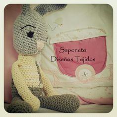 Conejito amigurumi, visitanos en facebook, Saponeto Diseños Tejidos