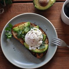 Poached eggs, avocado and toast.