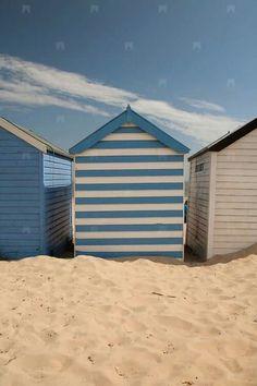 Blue and white. Beach...