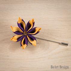 Purple/Gold Kanzashi Flower Lapel Pin with Swarovski Smoked Topaz Crystal/Lapel Pin/Lapel Flower/Men Lapel Flower/Wedding Accessories/Brooch by BoArtDesign on Etsy