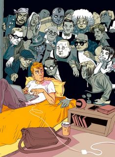 The Israeli illustrator duo Tomer Hanuka and Asaf Hanuka use their bright and vibrant cartoon style to paint a slightly darker picture of modern society, Tomer Hanuka, Satire, Tiers Monde, Issues In Society, Technology Addiction, Satirical Illustrations, Dark Pictures, Social Art, Social Media