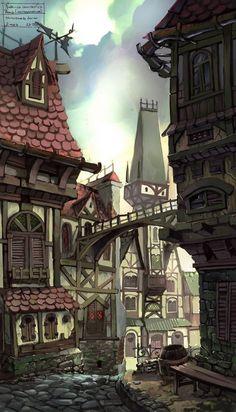 Urban city town The Old Street by antTON Fantasy Concept Art, 3d Fantasy, Fantasy Places, Fantasy Setting, Fantasy Landscape, Medieval Fantasy, Fantasy World, Dark Fantasy, Environment Concept Art