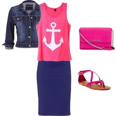 Pink Anchors Away by modestfashions99 on Polyvore featuring polyvore fashion style maurices Matisse MICHAEL Michael Kors