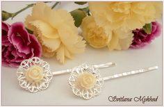 """lot de 2 Pinces Barrettes filigrane à cheveux """"Rose"""" (ecru) . metal argente : Accessoires coiffure par perles-et-couronnes"""