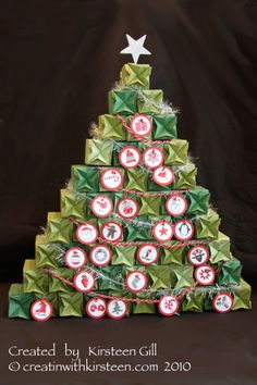 Stampin' Up!  Candy Wrapper  Kirsteen Gill. This would make a great display at the school xmas fair.