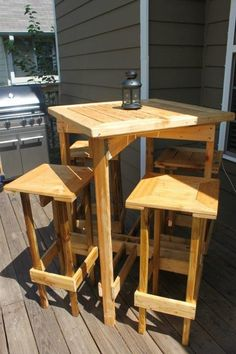 Diy Plans To Make Bar Table And Stool Set Outdoor