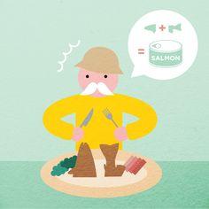 <Scene0 : 머리+꼬리 연어 통조림의 탄생>  연어전문가인 산티아고 할아버지는 맛과 영양은 몸통과 똑같지만 통조림에 사용되지 못하고 버려지는 연어의 머리와 꼬리를 통조림의 재료로 개발해야 겠다고 생각했습니다.