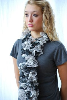 Mother's Day Lacy Ruffled Scarf  Hand knit Black by AquaLumen, $30.00