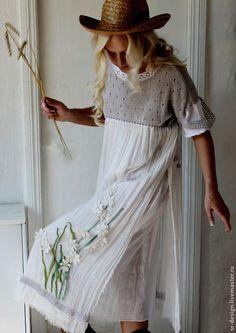 платье бохо колосок - белый,однотонный,жемчужный,серый,Аппликация,цветы