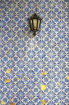 Gorgeous vintage hand-painted blue tiles