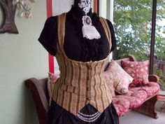 The Victoriana Stripe: Upcycled Underbust Steampunk Vest in Women's Size LARGE