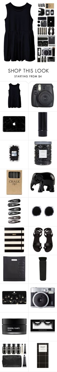 """""""Back In black with a smock?"""" by maddyrosek ❤ liked on Polyvore featuring Threshold, Jayson Home, The Elephant Family, Clips, Kate Spade, H&M, 3.1 Phillip Lim, Topshop, Fujifilm and Koh Gen Do"""