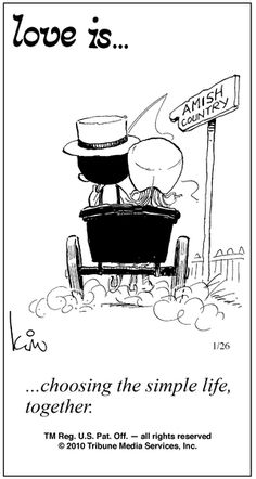 Love is. choosing the simple life, together. Love Is Cartoon, Love Is Comic, Way Of Life, The Life, What Is Love, Love You, Amish Culture, Amish Country, Love Notes
