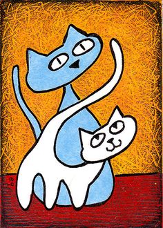 """flaunting her tail"" e9Art Cat Original Art Painting OOAK Cartoon Whimsical One-of-a-Kind. ACEO: Collectible - Giftable - Affordable - Miniature Art for Small Spaces."