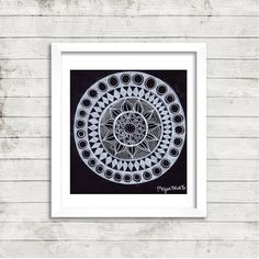 $30 Black and White Star Mandala Colored Pencil by ArtbyMeganBrock05. This is an original drawing of a black and white star mandala done with Prismacolor colored pencils and white gel pens on Strathmore paper. It would look lovely accented by a white or black frame.