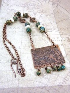 Etched Butterfly Necklace Copper Jewelry by ATwistOfWhimsy on Etsy, $48.00