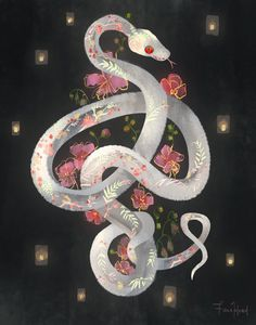 """fionahsieh: """" fionahsieh: """"full bloom © fiona hsieh """" art prints, phone cases, and other stuff of this is now up for grabs in my. Inspiration Art, Art Inspo, Art And Illustration, Fantasy Kunst, Fantasy Art, Desu Desu, Snake Art, Snake Drawing, Art Design"""