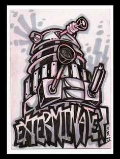 dalekjess: Set of three Doctor Who ACEOs: Dalek, Cyberman, and Ood. By: Chris McMillen Doctor Who Tumblr, Tv Doctors, Hello Sweetie, Dalek, Dr Who, Home Art, Graffiti, Street Art, Nerd