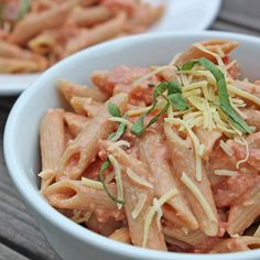 """Guilt-Free Creamy Comfort: Penne Alla """"Not-ka"""" - use non dairy for the cream/milk, gluten free pasta and skip the cheese!"""