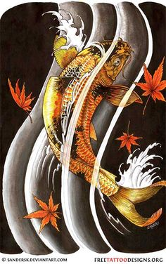 Black koi fish tattoo design