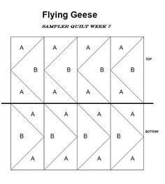 Flying Geese Block Quilt Pattern plan