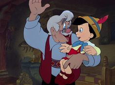 """2) Pinocchio (1940) watched 1/28/14 Geppetto ~""""I wish that my little Pinocchio might be a real boy."""""""