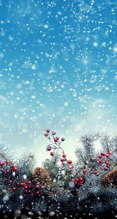 [クリスマス]きれいなクリスマスツリー&雪iPhone壁紙 iPhone 5/5S 6/6S PLUS SE Wallpaper Background
