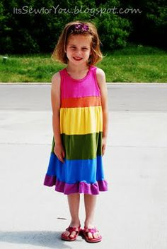 Rainbow t-shirt dress made from repurposed t-shirts tutorial