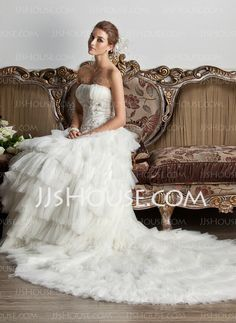 Wedding Dresses - $219.99 - Ball-Gown Strapless Chapel Train Satin Tulle Wedding Dress With Ruffle Lace Beadwork Sequins (002013805) http://jjshouse.com/Ball-Gown-Strapless-Chapel-Train-Satin-Tulle-Wedding-Dress-With-Ruffle-Lace-Beadwork-Sequins-002013805-g13805