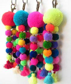 Tutu Pom Pom llavero trío de neón lana Mini pompones por midgetgems