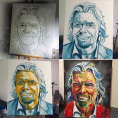 """Richard Branson painting. My art. """"The People"""" exhibition. Urszula Kaminska"""