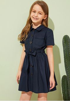 To find out about the Girls Button Up Flap Pocket Belted Shirt Dress at SHEIN, part of our latest Girls Dresses ready to shop online today! Teenage Girl Outfits, Girls Fashion Clothes, Cute Girl Outfits, Cute Outfits For Kids, Teen Fashion Outfits, Girl Fashion, Preteen Girls Fashion, Frocks For Girls, Little Girl Dresses