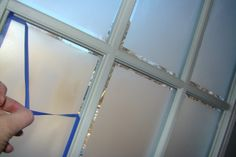 Frosted Glass on French Doors | using frosted window spray paint