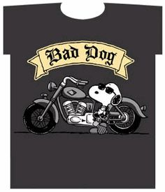 Peanuts Snoopy Joe Cool Bad Dog on Motorcycle Tshirt