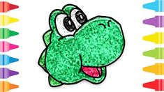 Glitter Yoshi how to coloring and drawing for Kids & Color pages Fun At Work, Drawing For Kids, Coloring For Kids, Yoshi, Glitter, Make It Yourself, Drawings, Painting, Art