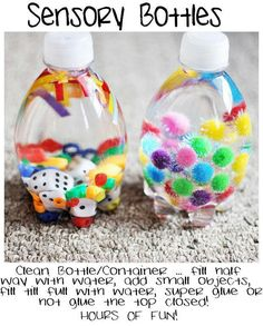 Sensory bottles = So going to do this for the kids at work! LOVE IT!!!!!