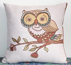 Throw Pillow Cases, Throw Pillows, Owl Patterns, Cute Owl, Cotton Linen, Owls, Cushions, Amazon, Cover