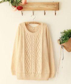 Light-apricot Woman Sweater/ Winter Sweater/Large Sweater/ Cotton Sweater. $49.00, via Etsy.