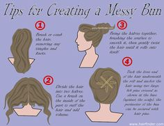 Step by step illustration showing how to put your hair up in a messy bun. Tips for creating a messy bun look. Up Hairstyles, Pretty Hairstyles, Creative Hairstyles, Fru Fru, Twist Braids, Fancy, Tips Belleza, Hair Today, Hair Dos