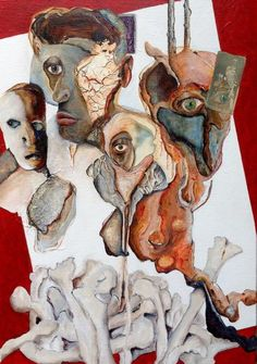 """Han van der Mijn, """"Happy family 2"""",  70 x 50 cm; acryl, olieverf, papier en gips op linnen, afgegoten met epoxyhars."""