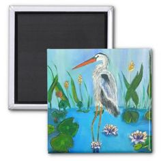Blue Heron Magnet - animal gift ideas animals and pets diy customize