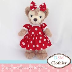"""SPECIAL ORDER Minnie Red Dot Dress and Bow Set for Disney's 17"""" Shellie May Plush Bears"""