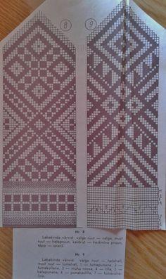 mitts pattern FREE  mitt 8: (light square) white, (dark square) light brown, . orange, X brown mitt 9: (light square) light grey, (dark square) dark grey, 1 dark red, 2 dark yellow, 3 pink, 4 violet, 5 light red, 6 purple, 7 dark green