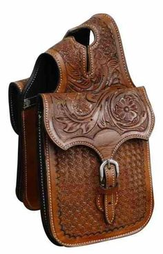 Showman Tooled Leather Horn Bag
