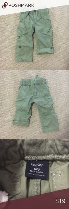 GAP Baby Cargo Pants ☀️Baby GAP Cargo Pants ☀️Elasticized waist is soft knit covered - drawstring is decorative ☀️Pull on style ☀️Roll up adjustable length legs with button and tab to hold in place ☀️The knees, seat, and bottom of the legs are all in like-new condition.  ☀️The quality of these pants is very good. They are soft, and still have a lot of life in them. GAP Bottoms Casual
