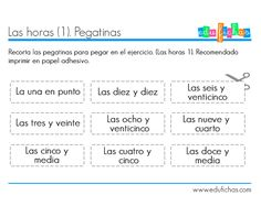 Telling Time In Spanish, Math 2, Stickers, Acting, Sony, Cooking, Activities For Kids, Telling Time, Clock For Kids